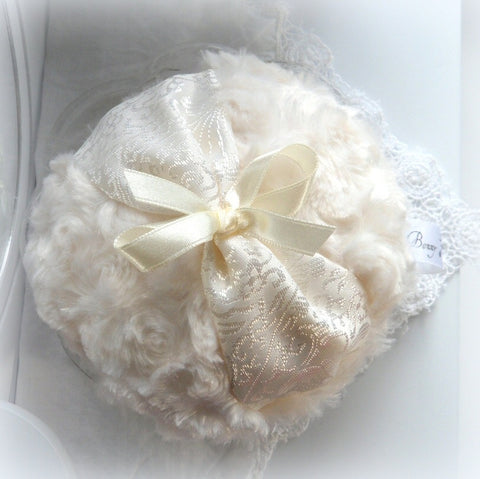 IVORY Powder Puff - soft cream - creme brocade powderpuff - gift box option - by BonnyBubbles in Florida