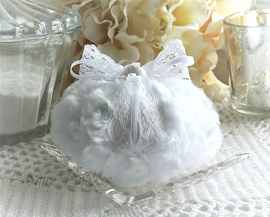 white shabby chic powder puff
