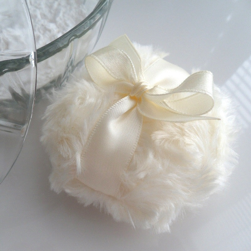 La Petite 'Creme' Powder Puff - soft creamy ivory - miniature pouf - gift boxed powderpuff