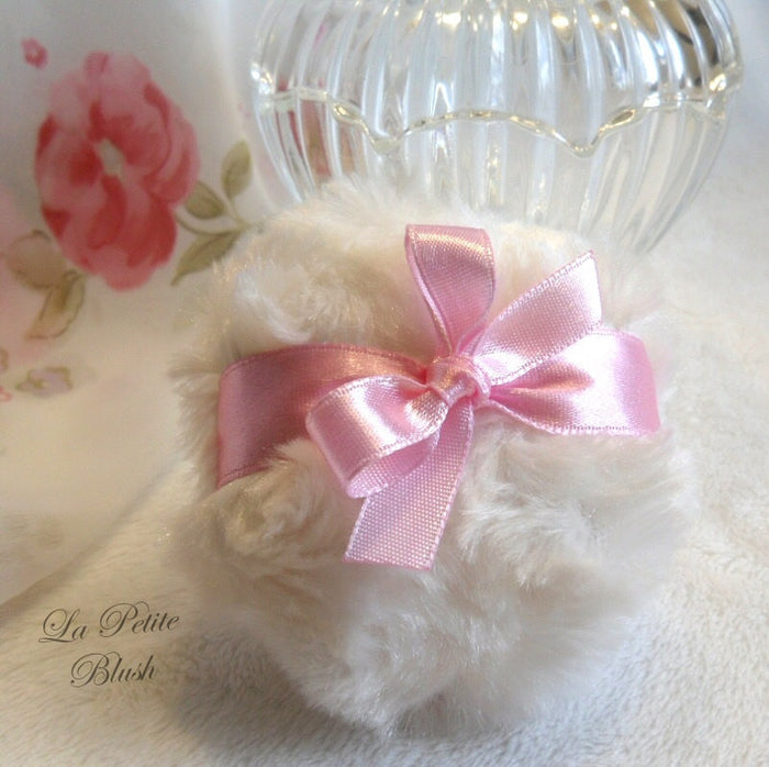BLUSH PINK Powder Puff - petite pink and cream powderpuff - miniature pouf - gift box option - handmade by Bonny Bubbles