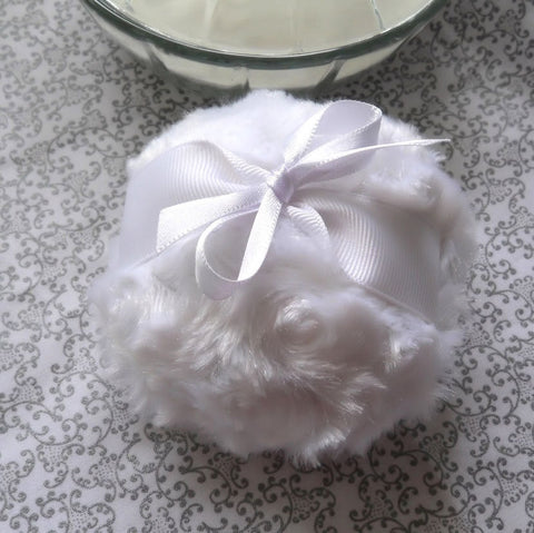 POWDER PUFF - fresh crisp white - pouf blanc - snow body powderpuff - gift boxed by Bonny Bubbles