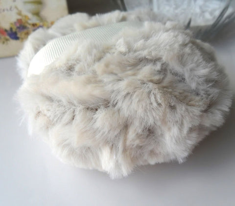 Body Powder Puff  - creamy ivory - beige chinchilla faux fur - poudre duster - gift boxed