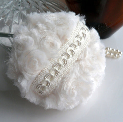 IVORY Powder Puff - creamy ivory plush - pouf creme - gift boxed - by BonnyBubbles