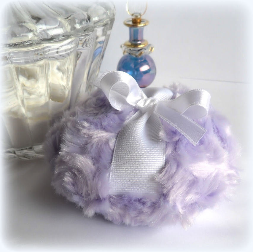 LAVENDER Powder Puff - soft lilac bath pouf - pastel purple and white - gift box option - by Bonny Bubbles