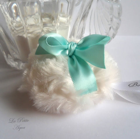 AQUA Powder Puff - petite aqua and cream - miniature pouf - robins egg blue - gift boxed - handmade by Bonny Bubbles