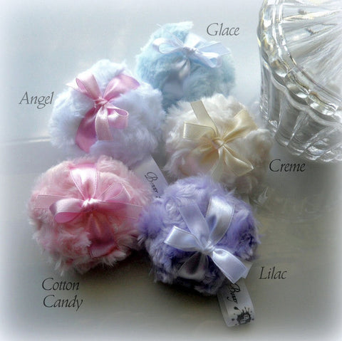 Small Powder Puff - La Petite Powderpuffs - pick a color - miniature poufs - gift boxed - pink cream blue lilac