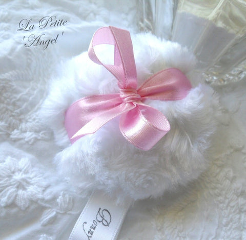 La Petite 'Angel' Powder Puff - white and pink powderpuff - miniature plush pouf - gift box option - by BonnyBubbles