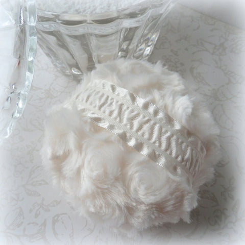Ivory Powder Puff - soft creamy powderpuff - creme plush pouf - gift boxed