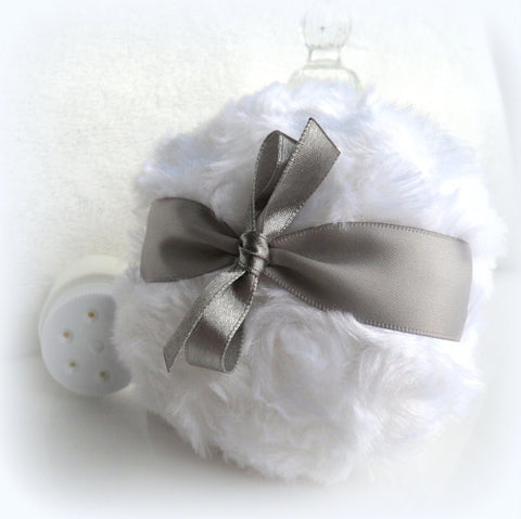Body Powder Puff - pewter gray and white - grey bath pouf - silver and white - gift box option - by BonnyBubbles