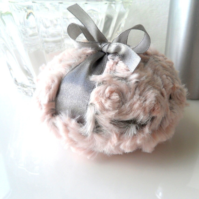Body Powder Puff - pewter gray and blush pink bath pouf - two toned plush powder duster - gift box option