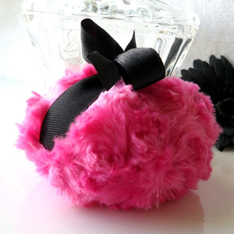Cherry Pink and Black powder puff - plush bath pouf - gift boxed powderpuff - by BonnyBubbles