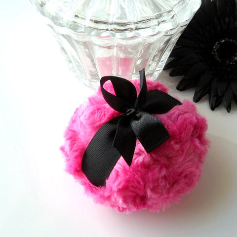 cherry pink/black puff