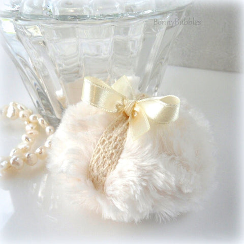La Petite 'Lace' Powder Puff - soft creamy ivory and crochet lace - miniature pouf - gift boxed made by Bonny Bubbles