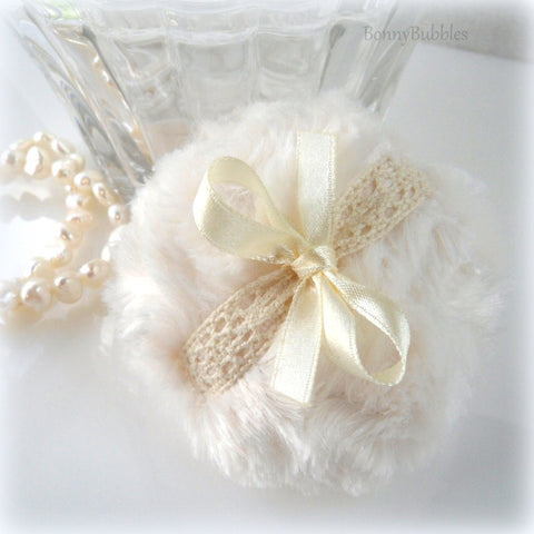 La Petite 'Lace' Powder Puff - soft creamy ivory and crochet lace - miniature pouf - gift box option -  made by Bonny Bubbles