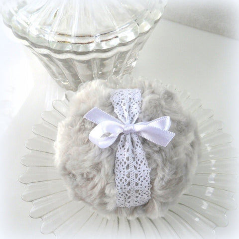 Body Powder Puff - light gray and white crochet lace - grey bath pouf - gift boxed powder duster by BonnyBubbles