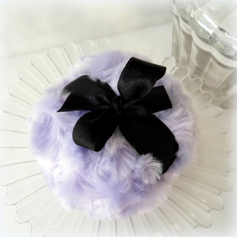 LAVENDER Powder Puff - soft lilac bath pouf - pastel purple and black - gift box option - by Bonny Bubbles