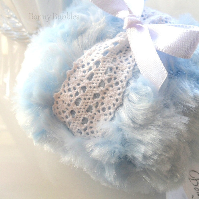 Body Powder Puff - ice blue and white lace crochet, soft plush bath pouf - gift boxed by Bonny Bubbles
