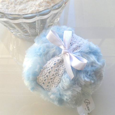 BLUE Powder Puff - blue and white lace crochet, soft plush bath pouf - gift box option - by Bonny Bubbles
