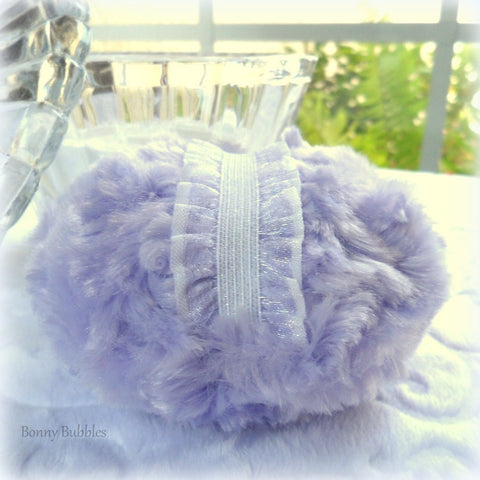 Lavender Powder Puff - pastel lilac purple bath pouf - handmade powderpuff - gift boxed