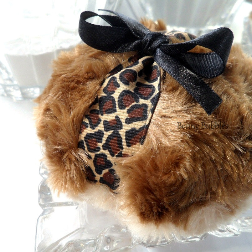Powder Puff - Leopard design - two toned cinnamon brown plush - gift boxed by BonnyBubbles