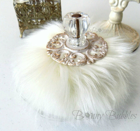 Ivory Powder Puff - SOLD OUT - soft creamy ivory with glass handle - silky soft plush by Bonny Bubbles - gift boxed