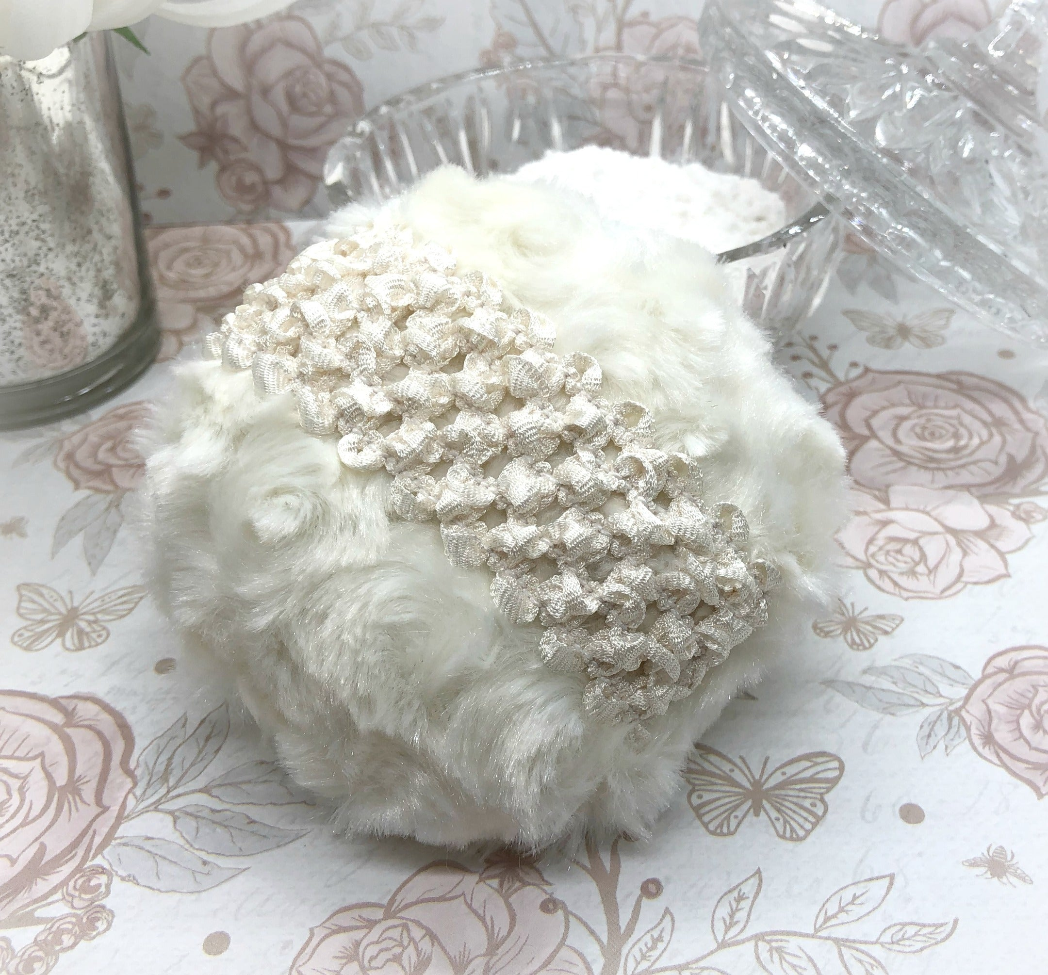 Powder Puff - 4 inch ivory cream body pouf - handmade in USA