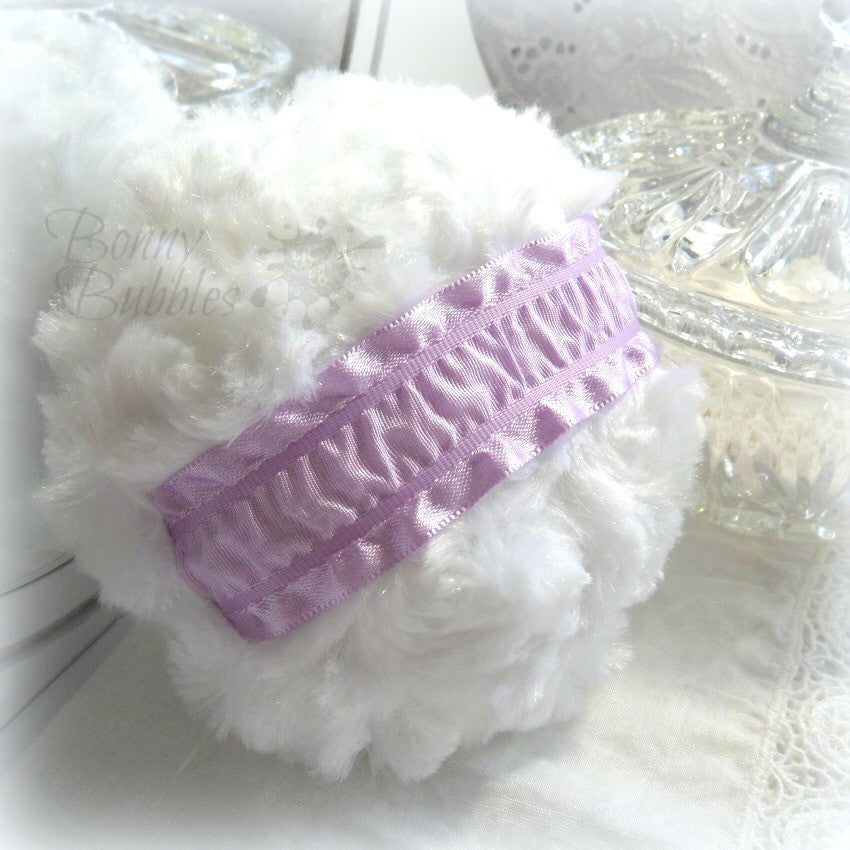lavender and white powder puff