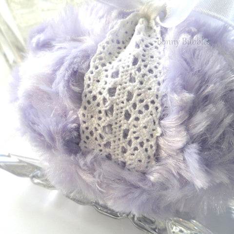 Body Powder Puff lavender and white crochet pouf - handmade by Bonny Bubbles Florida