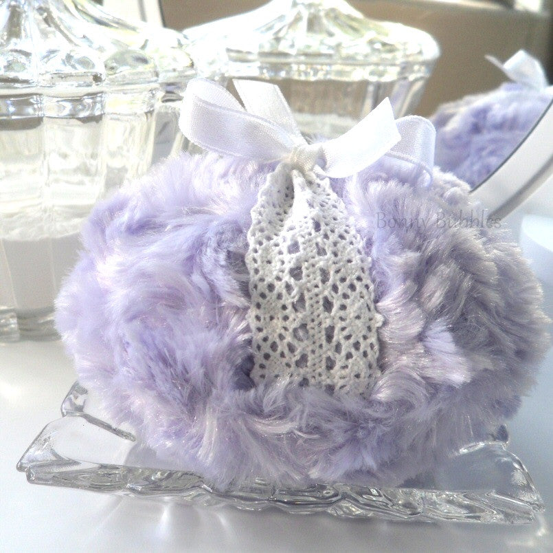 lavender lace powder puff