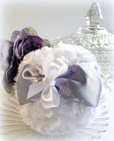 lavender and white brocade puff