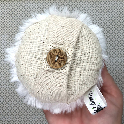 Powder Puff - 4 inch - plush and linen body powderpuff - with wood button - handmade by BonnyBubbles