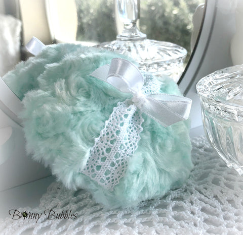 mint green body powder pouf