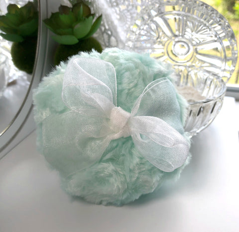 Powder Puff - 4 inch mint green plush and white organza pouf to apply body powder