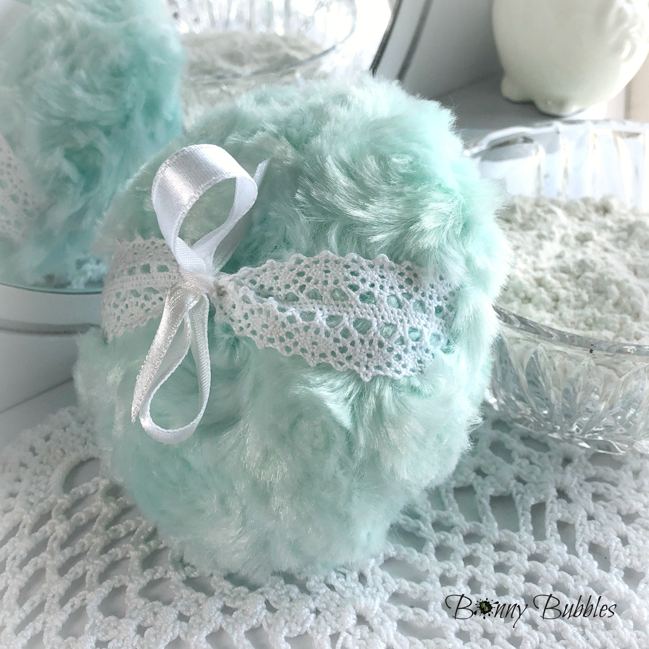 mint green body powder puff