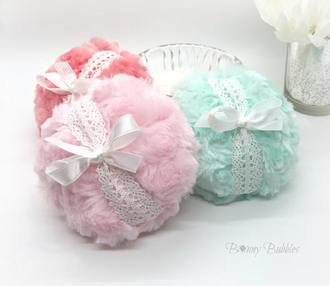 Body Powder Puff - pick a color - plush powderpuff - gift box option by BonnyBubbles