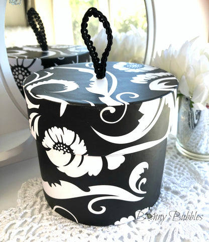 Body Powder Container - black and white floral motif round box - decorative storage box with handle, by Bonny Bubbles