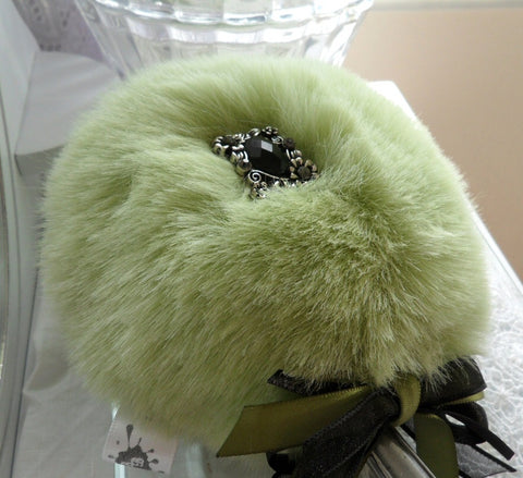 SAGE GREEN Powder Puff Wand - Pouf with handle - soft faux fur by Bonny Bubbles