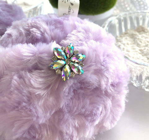 Body Powder Puff - bejeweled lavender orchid bath pouf - soft plush, vintage inspired poof - gift box option, handmade by Bonny Bubbles