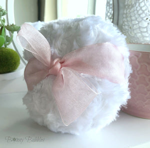 pink organza powder puff