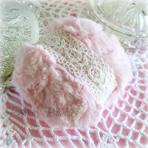 PINK Powder Puff - white lace, soft plush bath pouf - gift box option - handmade by Bonny Bubbles