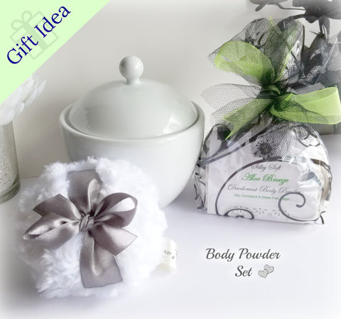 BODY POWDER SET, pick a color and scent - natural, silky body powder - great gift idea - handmade by Bonny Bubbles