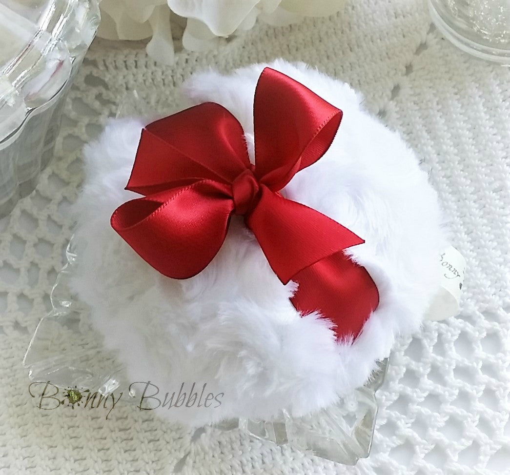RED Powder Puff - red and white powderpuff - soft bath pouf rouge - gift box option - by BonnyBubbles