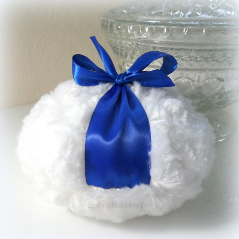 Body Powder Puff - Royal Blue and White - big dusting pouf - gift boxed