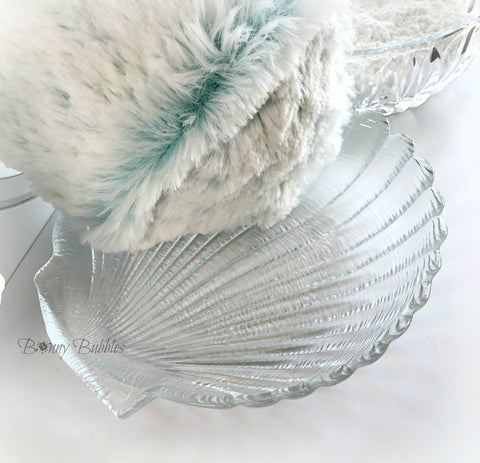 clear glass scalloped sea shell dish powder pouf holder