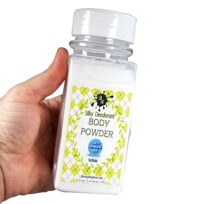 BODY POWDER  8 oz - Pick a Scent - Talc and Cornstarch Free - refillable