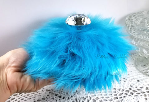 Fluffy Turquoise Powder Puff - large bejeweled faux fur powder puff, with glass handle - aqua blue powder duster - handmade gift for her - Hollywood glam