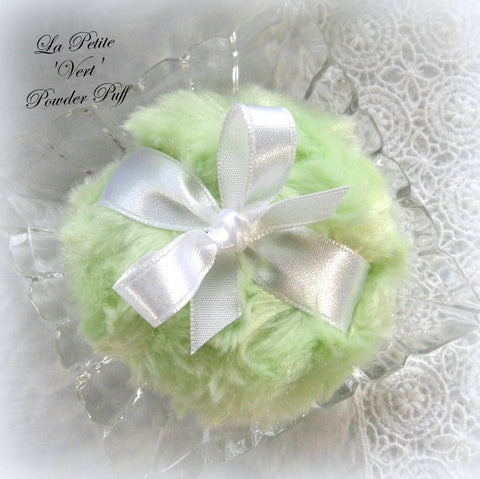 GREEN Powder Puff - La Petite 'Vert' pouf - mini key lime green - miniature bath pouf - gift boxed