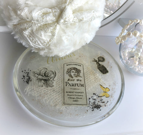 Glass Dish - 6 inch French vintage style collage plate - perfect as a powder puff holder or trinket dish
