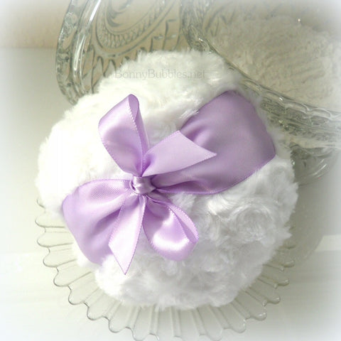 Lavender and White Powder Puff - big dusting bath pouf - gift boxed - handmade by Bonny Bubbles