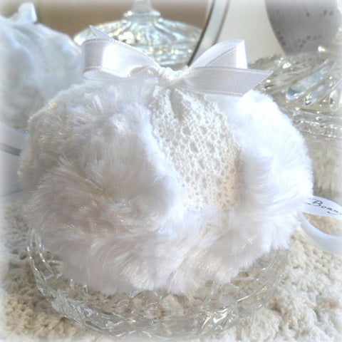 white lace powder puff